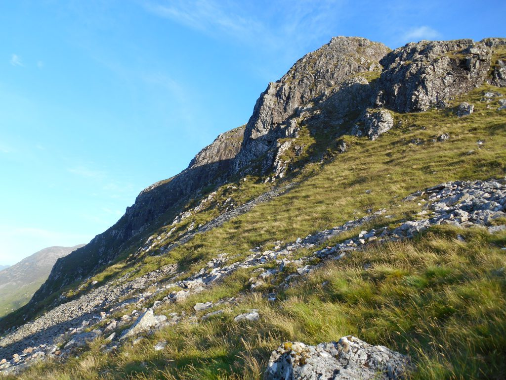 Ascending to the start of the Aonach Eagach Ridge