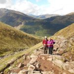 Walking up Ben Nevis on a sunny day