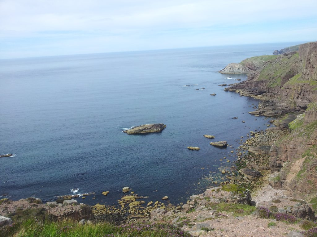 Cliffs on the Cape Wrath Trail with a clear sky