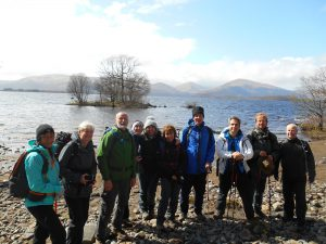 Group photo in front of Loch Lomond on The West Highland Way