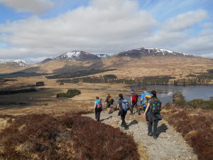 Descending to Inveroran with Loch Tulla in the distance