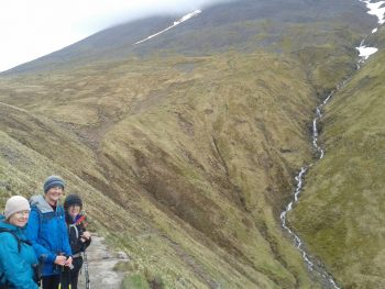 On the way up a snow capped Ben Nevis