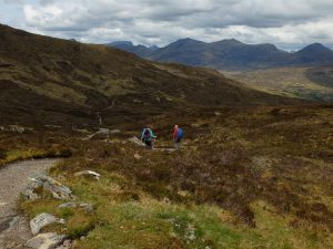 Mountain Path Down to Kinlochleven with two walkers