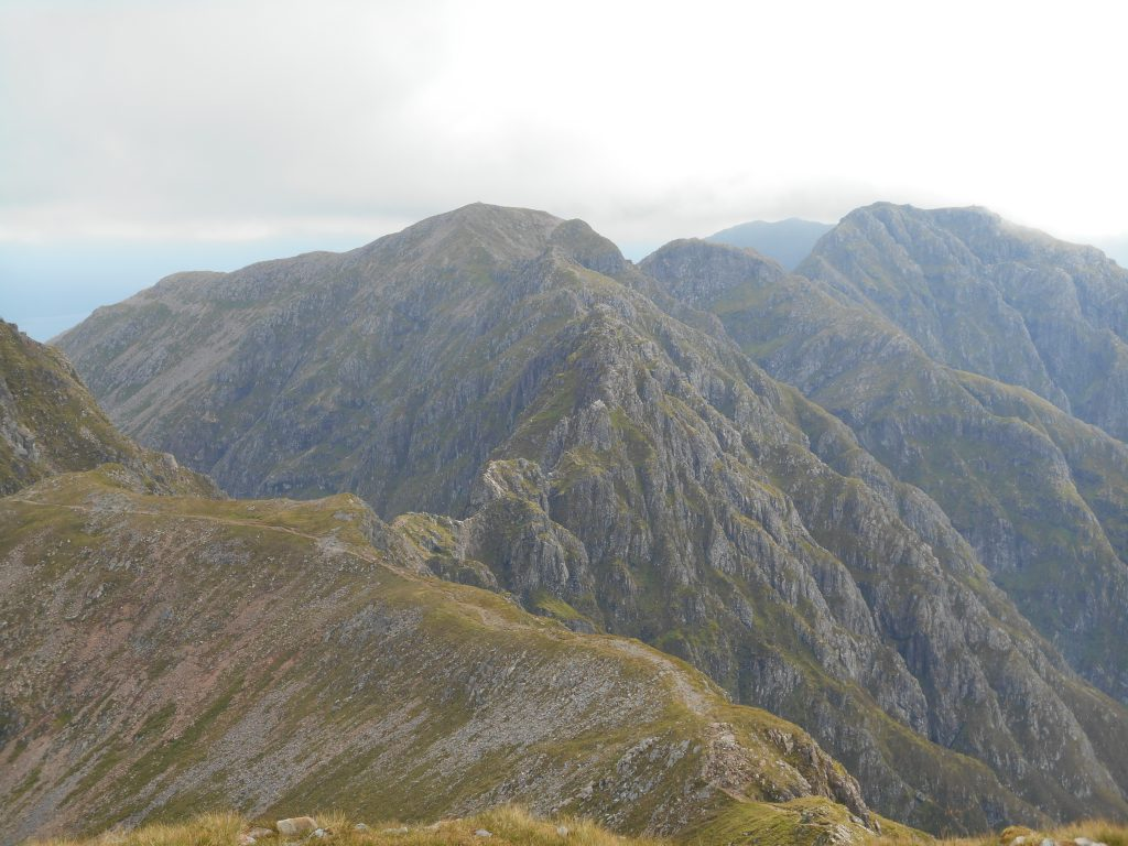 View along looking East along the summits of The Aonach Eagach Ridge
