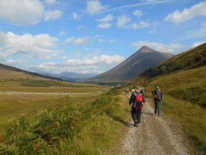 Walking along the West Highland Way towards Ben Doran