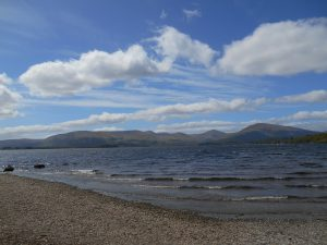 Waves on Loch Lomond with Arrochar Hills in Distance