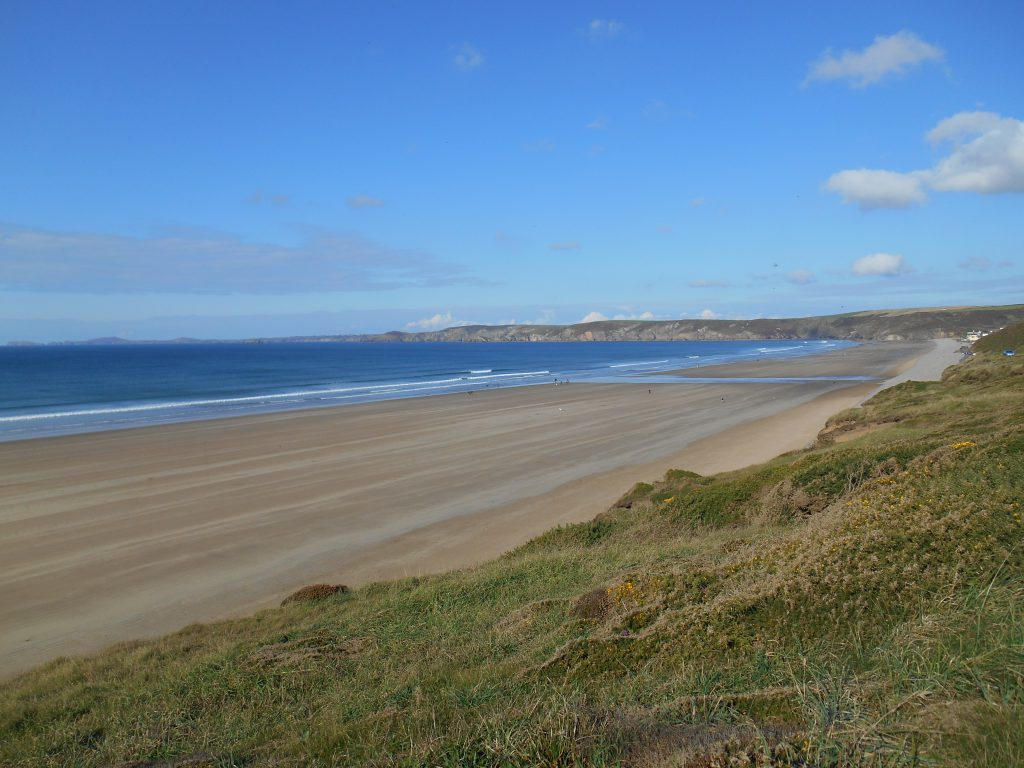 Whitesands Bay on a sunny day on Pembrokeshire Coast Path