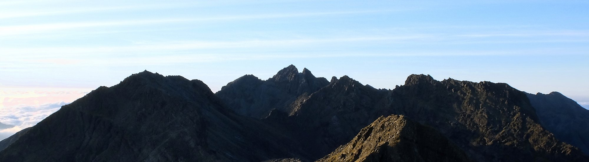 The Cuillin Ridge on a clear day in the shade