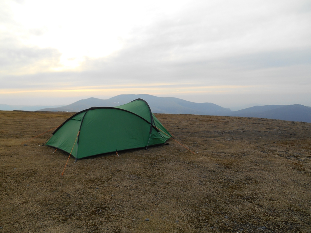 Green Tent on the top of Skiddaw at dusk