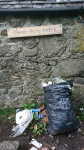 Rubbish outside the only mountain bothy on the West Highland Way