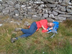 Alex catching some much needed rest on The Snowdonia Way