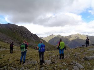 Group taking photos of mountains on Cape Wrath Trail - Views from the bealach