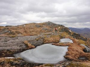 frozen lochans high on the Scottish mountains