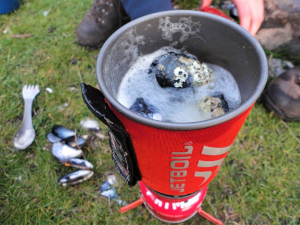 Mussels cooked in Jetboil