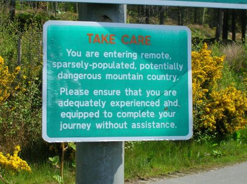 Knoydart warning sign